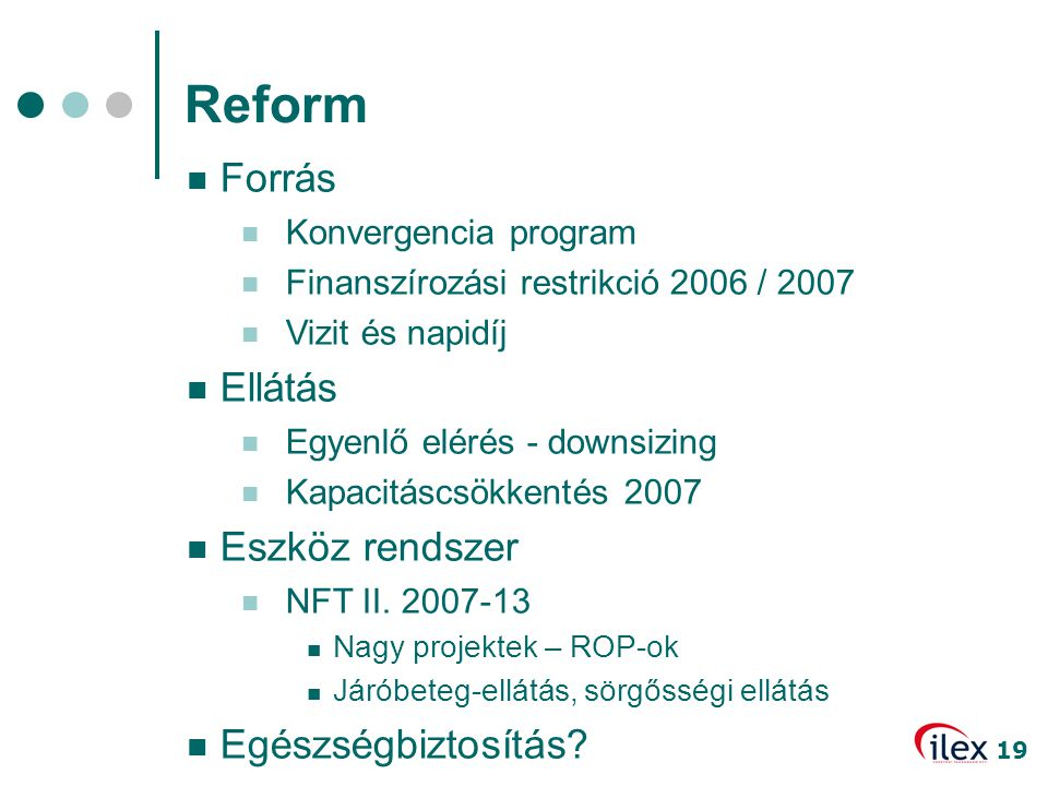 19  Forrás  Konvergencia program  Finanszírozási restrikció 2006 / 2007  Vizit és napidíj  Ellátás  Egyenlő elérés - downsizing  Kapacitáscsökk