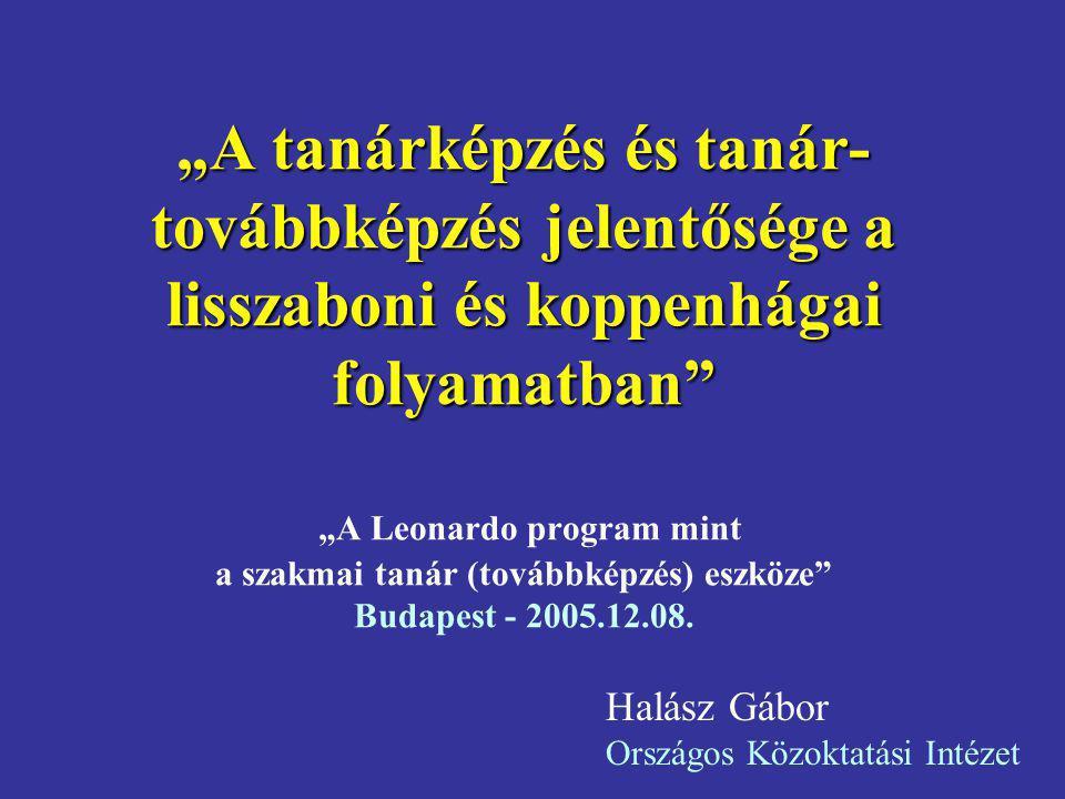 """""""A tanárképzés és tanár- továbbképzés jelentősége a lisszaboni és koppenhágai folyamatban"""" """"A tanárképzés és tanár- továbbképzés jelentősége a lisszab"""
