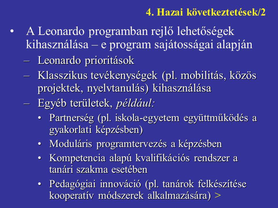 4. Hazai következtetések/2 •A Leonardo programban rejlő lehetőségek kihasználása – e program sajátosságai alapján –Leonardo prioritások –Klasszikus te