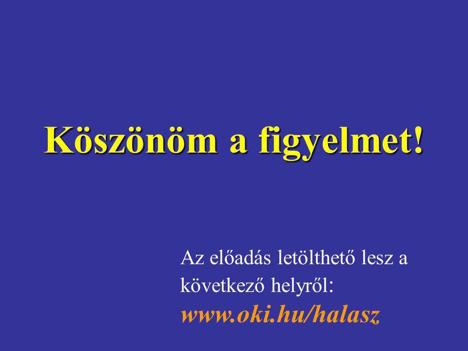 Köszönöm a figyelmet! Az előadás letölthető lesz a következő helyről : www.oki.hu/halasz