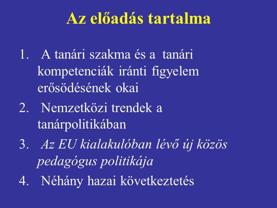 Az előadás tartalma 1. A tanári szakma és a tanári kompetenciák iránti figyelem erősödésének okai 2. Nemzetközi trendek a tanárpolitikában 3. Az EU ki