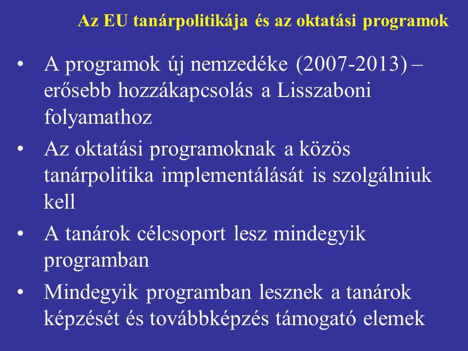 Az EU tanárpolitikája és az oktatási programok •A programok új nemzedéke (2007-2013) – erősebb hozzákapcsolás a Lisszaboni folyamathoz •Az oktatási pr