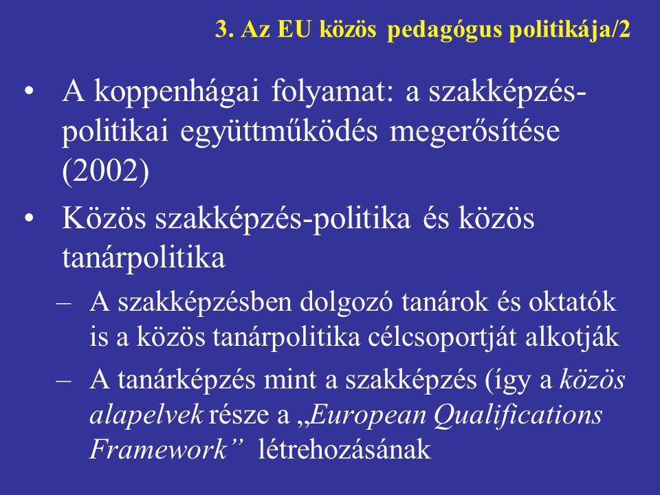 3. Az EU közös pedagógus politikája/2 •A koppenhágai folyamat: a szakképzés- politikai együttműködés megerősítése (2002) •Közös szakképzés-politika és