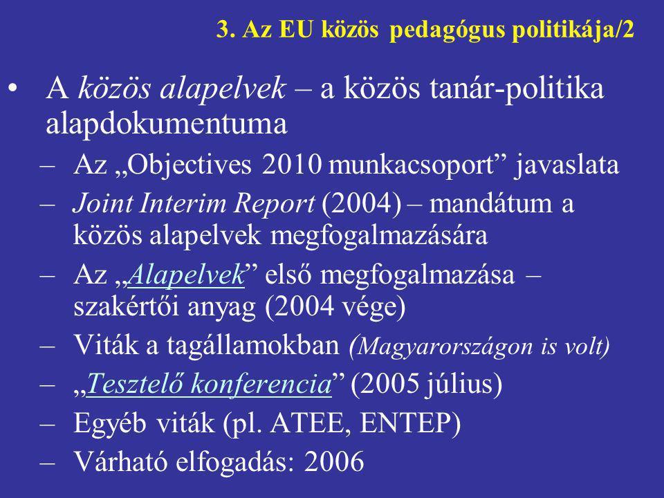 """3. Az EU közös pedagógus politikája/2 •A közös alapelvek – a közös tanár-politika alapdokumentuma –Az """"Objectives 2010 munkacsoport"""" javaslata –Joint"""