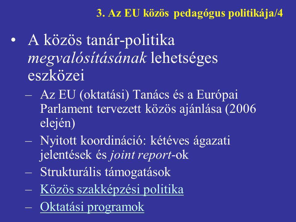 3. Az EU közös pedagógus politikája/4 •A közös tanár-politika megvalósításának lehetséges eszközei –Az EU (oktatási) Tanács és a Európai Parlament ter