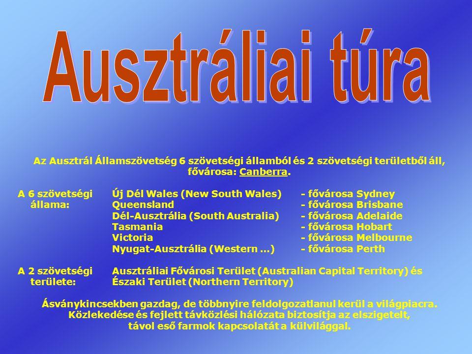 Az Ausztrál Államszövetség 6 szövetségi államból és 2 szövetségi területből áll, fővárosa: Canberra.