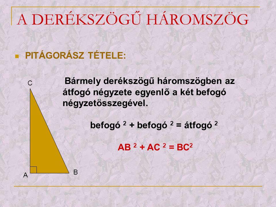 A DERÉKSZÖGŰ HÁROMSZÖG  PITÁGORÁSZ TÉTELE: A B C Bármely derékszögű háromszögben az átfogó négyzete egyenlő a két befogó négyzetösszegével. befogó 2