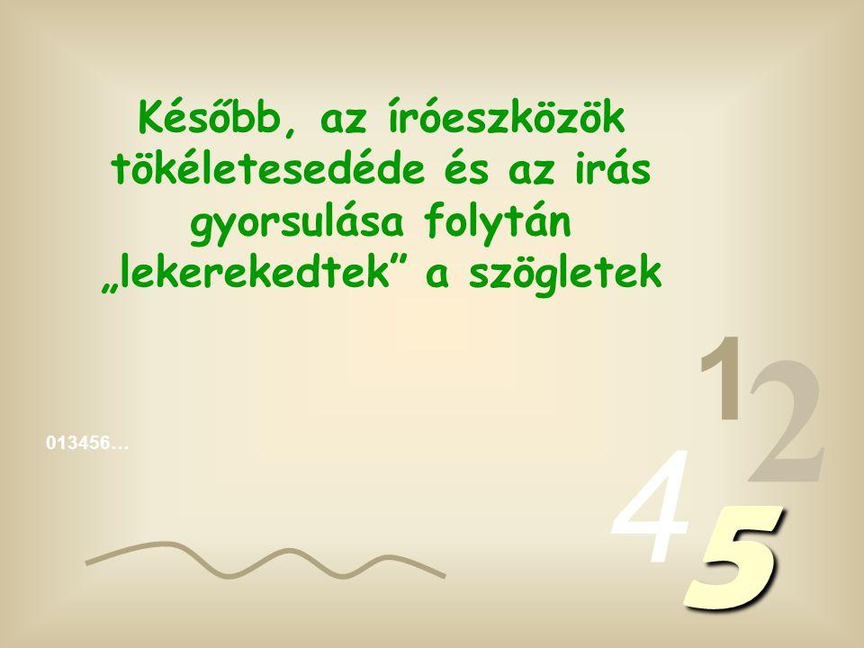 """013456… 1 2 4 5 Tudni kell, hogy kezdetben az arab számokat is szögletesen """"vésték""""...-nem nehéz megérteni, miért."""