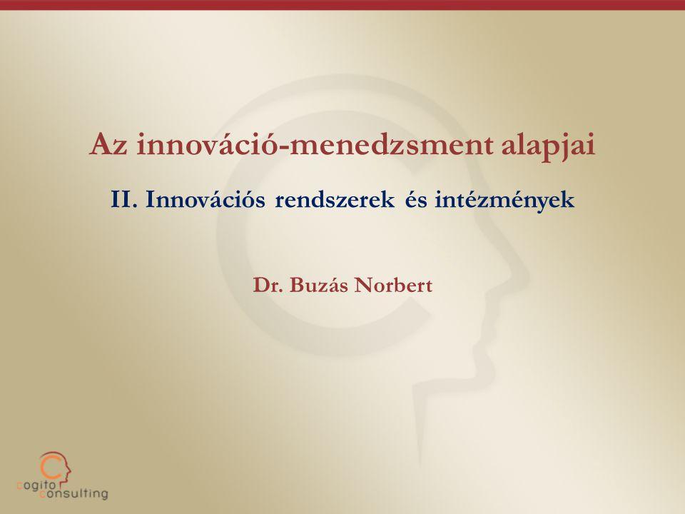 Az innováció-menedzsment alapjai II. Innovációs rendszerek és intézmények Dr. Buzás Norbert