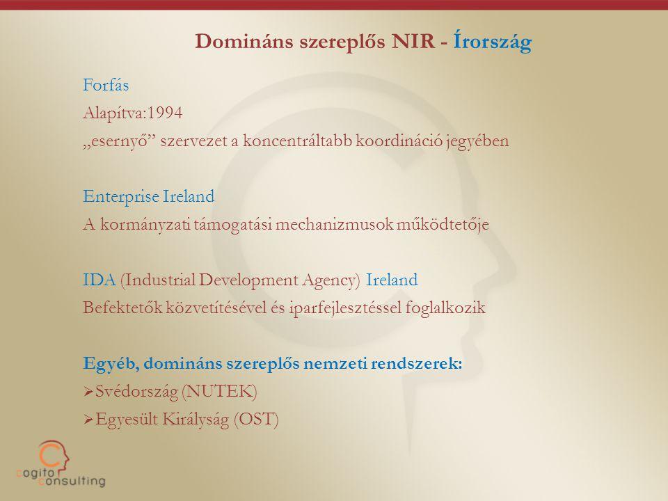 """Domináns szereplős NIR - Írország Forfás Alapítva:1994 """"esernyő szervezet a koncentráltabb koordináció jegyében Enterprise Ireland A kormányzati támogatási mechanizmusok működtetője IDA (Industrial Development Agency) Ireland Befektetők közvetítésével és iparfejlesztéssel foglalkozik Egyéb, domináns szereplős nemzeti rendszerek:  Svédország (NUTEK)  Egyesült Királyság (OST)"""