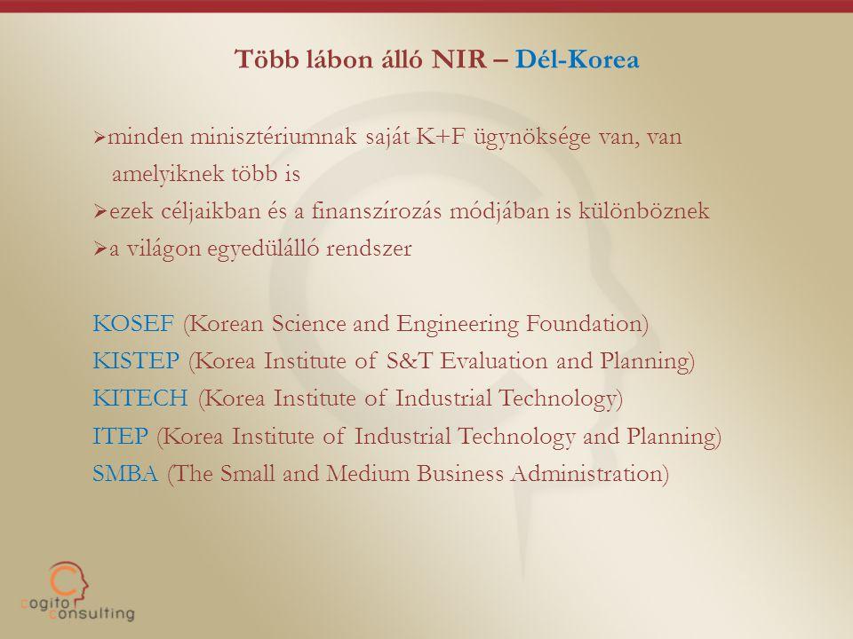 Több lábon álló NIR – Dél-Korea  minden minisztériumnak saját K+F ügynöksége van, van amelyiknek több is  ezek céljaikban és a finanszírozás módjában is különböznek  a világon egyedülálló rendszer KOSEF (Korean Science and Engineering Foundation) KISTEP (Korea Institute of S&T Evaluation and Planning) KITECH (Korea Institute of Industrial Technology) ITEP (Korea Institute of Industrial Technology and Planning) SMBA (The Small and Medium Business Administration)