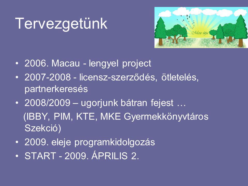 Tervezgetünk •2006. Macau - lengyel project •2007-2008 - licensz-szerződés, ötletelés, partnerkeresés •2008/2009 – ugorjunk bátran fejest … (IBBY, PIM