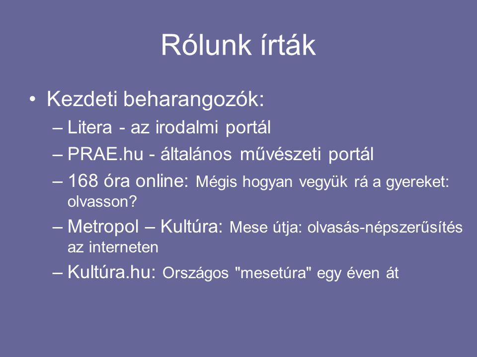 Rólunk írták •Kezdeti beharangozók: –Litera - az irodalmi portál –PRAE.hu - általános művészeti portál –168 óra online: Mégis hogyan vegyük rá a gyere