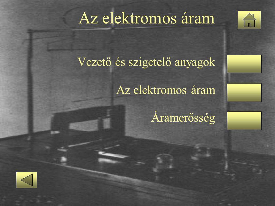 Az elektromos áram Vezető és szigetelő anyagok Az elektromos áram Áramerősség