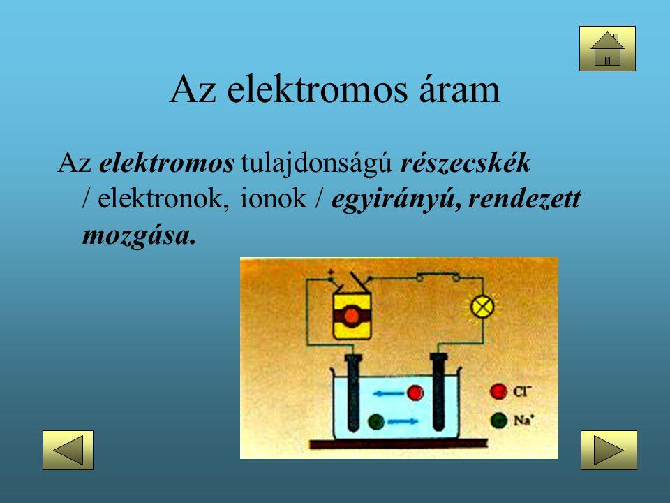 Az elektromos áram Az elektromos tulajdonságú részecskék / elektronok, ionok / egyirányú, rendezett mozgása.