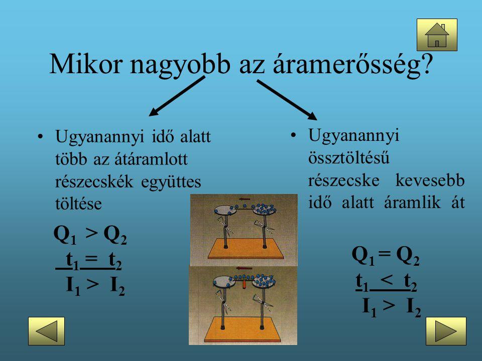 Mikor nagyobb az áramerősség? •Ugyanannyi idő alatt több az átáramlott részecskék együttes töltése Q 1 > Q 2 t 1 = t 2 I 1 > I 2 •Ugyanannyi össztölté