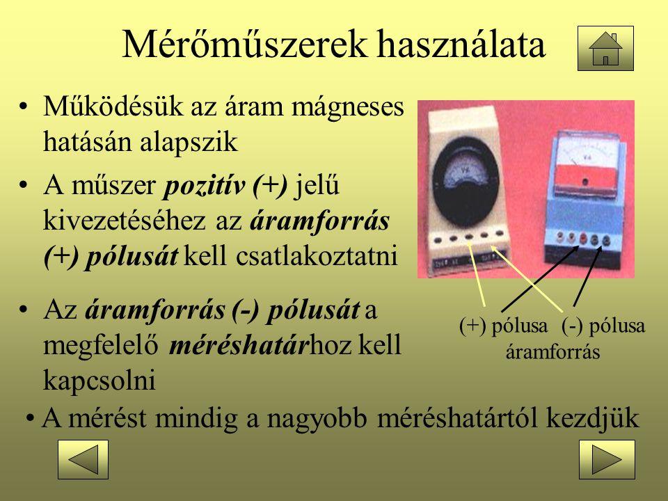 Mérőműszerek használata •Működésük az áram mágneses hatásán alapszik •A műszer pozitív (+) jelű kivezetéséhez az áramforrás (+) pólusát kell csatlakoz