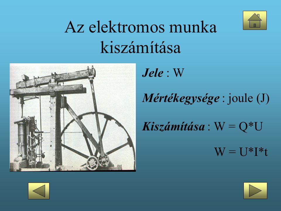 Az elektromos munka kiszámítása •Jele : W •Mértékegysége : joule (J) •Kiszámítása : W = Q*U W = U*I*t
