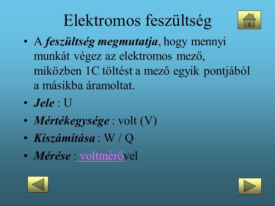 Elektromos feszültség •A feszültség megmutatja, hogy mennyi munkát végez az elektromos mező, miközben 1C töltést a mező egyik pontjából a másikba áram