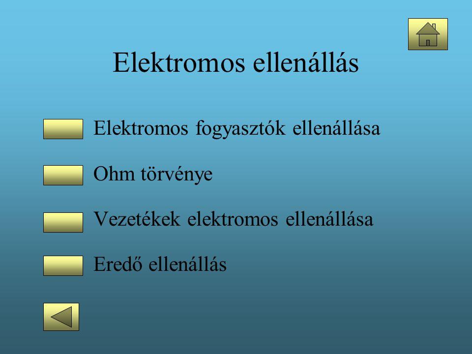 Elektromos ellenállás •Elektromos fogyasztók ellenállása •Ohm törvénye •Vezetékek elektromos ellenállása •Eredő ellenállás
