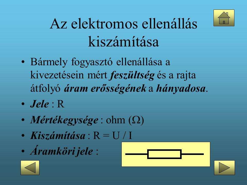 •Bármely fogyasztó ellenállása a kivezetésein mért feszültség és a rajta átfolyó áram erősségének a hányadosa. •Jele : R •Mértékegysége : ohm (  ) •K