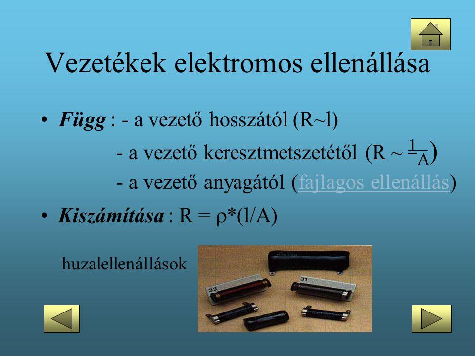 Vezetékek elektromos ellenállása •Függ : - a vezető hosszától (R~l) - a vezető keresztmetszetétől (R ~ 1 A ) - a vezető anyagától (fajlagos ellenállás