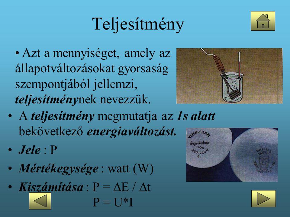 Teljesítmény •A teljesítmény megmutatja az 1s alatt bekövetkező energiaváltozást. •Jele : P •Mértékegysége : watt (W) •Kiszámítása : P =  E /  t P =
