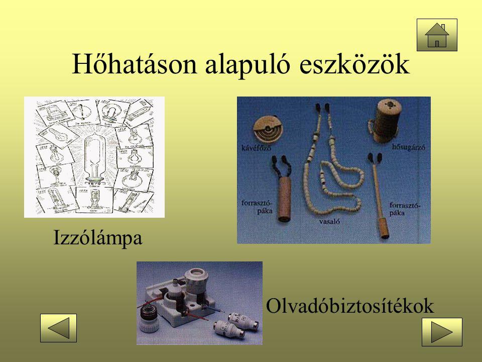 Hőhatáson alapuló eszközök Olvadóbiztosítékok Izzólámpa