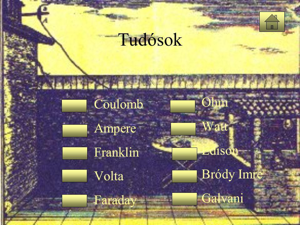 Tudósok •Coulomb •Ampere •Franklin •Volta •Faraday •Ohm •Watt •Edison •Bródy Imre •Galvani