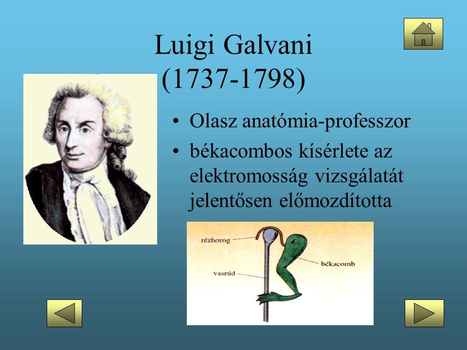 Luigi Galvani (1737-1798) •Olasz anatómia-professzor •békacombos kísérlete az elektromosság vizsgálatát jelentősen előmozdította