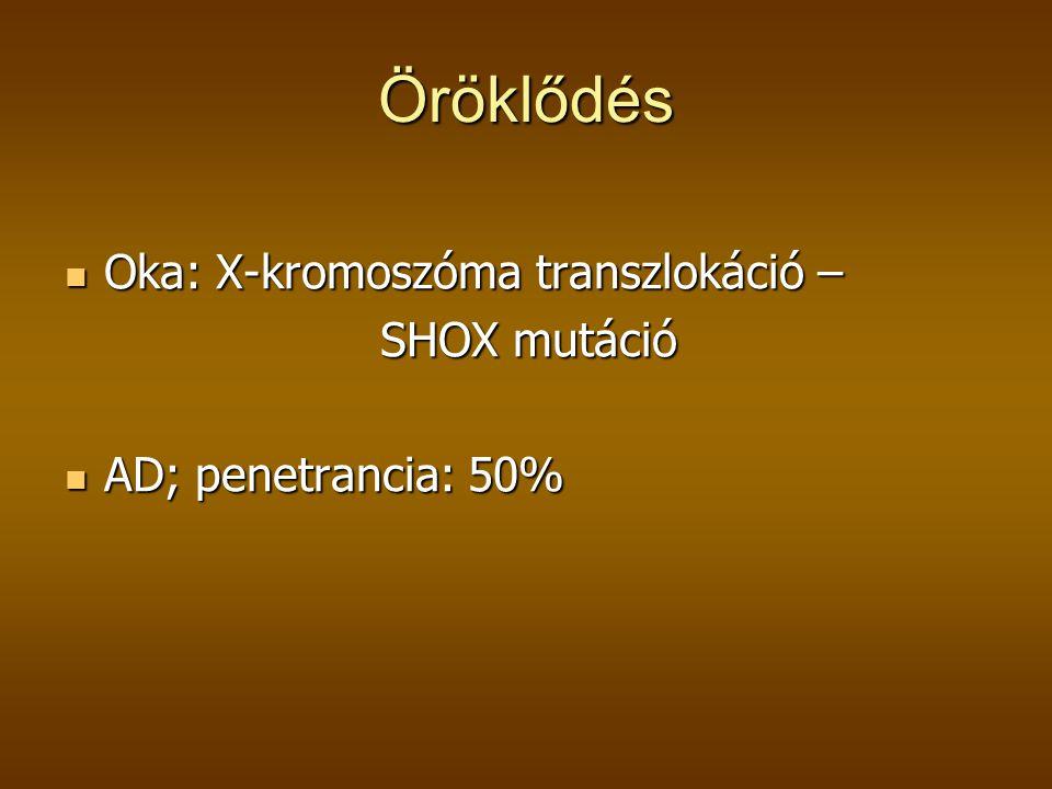 Öröklődés  Oka: X-kromoszóma transzlokáció – SHOX mutáció  AD; penetrancia: 50%