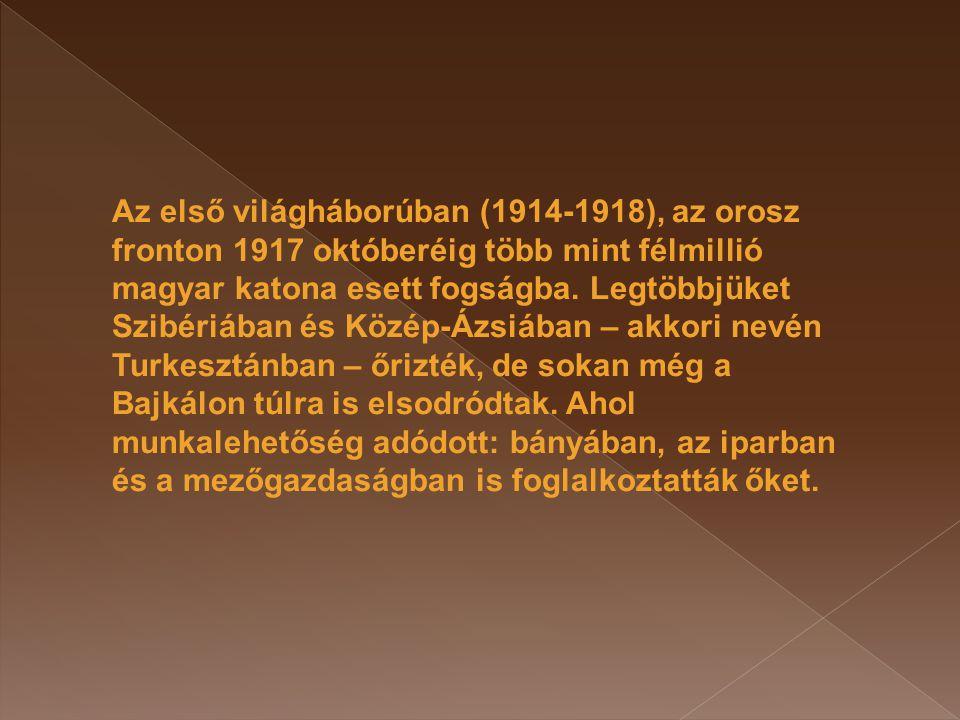 Az első világháborúban (1914-1918), az orosz fronton 1917 októberéig több mint félmillió magyar katona esett fogságba. Legtöbbjüket Szibériában és Köz