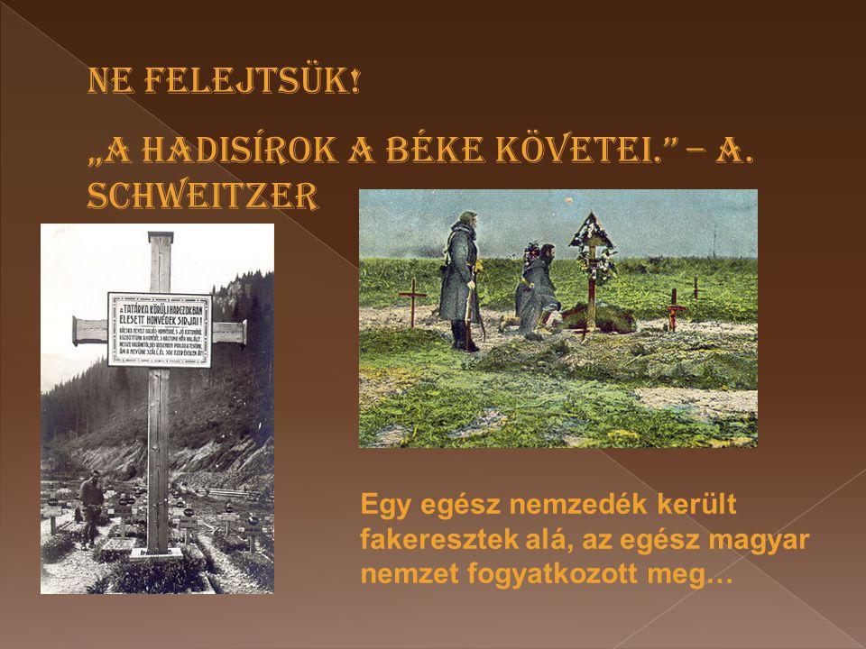 """Egy egész nemzedék került fakeresztek alá, az egész magyar nemzet fogyatkozott meg… NE FELEJTSÜK! """"A HADISÍROK A BÉKE KÖVETEI."""" – A. SCHWEITZER"""