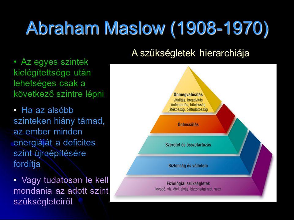 Abraham Maslow (1908-1970) A szükségletek hierarchiája • Az egyes szintek kielégítettsége után lehetséges csak a következő szintre lépni • Ha az alsóbb szinteken hiány támad, az ember minden energiáját a deficites szint újraépítésére fordítja • Vagy tudatosan le kell mondania az adott szint szükségleteiről
