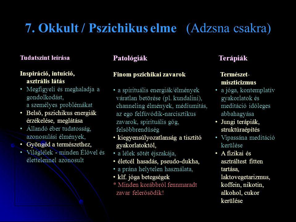 7. Okkult / Pszichikus elme (Adzsna csakra) Tudatszint leírása Inspiráció, intuíció, asztrális látás •Megfigyeli és meghaladja a gondolkodást, a szemé