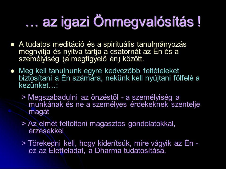 … az igazi Önmegvalósítás !   A tudatos meditáció és a spirituális tanulmányozás megnyitja és nyitva tartja a csatornát az Én és a személyiség (a me