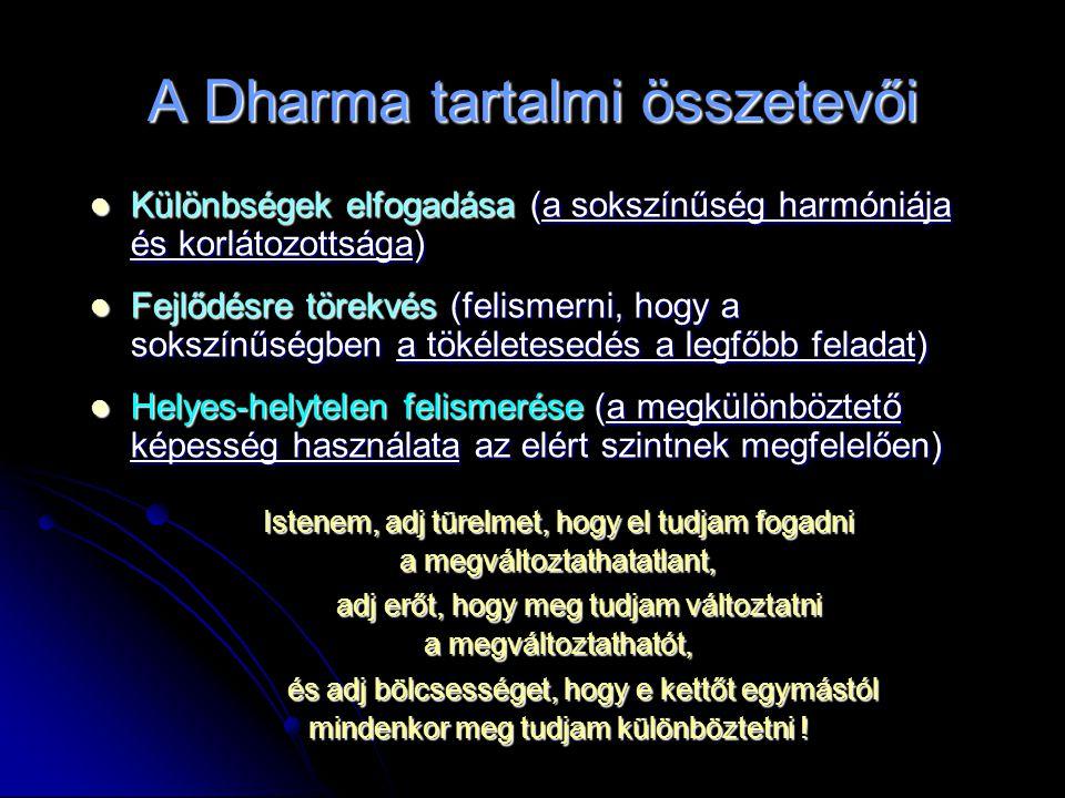 A Dharma tartalmi összetevői  Különbségek elfogadása (a sokszínűség harmóniája és korlátozottsága)  Fejlődésre törekvés (felismerni, hogy a sokszínűségben a tökéletesedés a legfőbb feladat)  Helyes-helytelen felismerése (a megkülönböztető képesség használata az elért szintnek megfelelően) Istenem, adj türelmet, hogy el tudjam fogadni a megváltoztathatatlant, adj erőt, hogy meg tudjam változtatni a megváltoztathatót, és adj bölcsességet, hogy e kettőt egymástól mindenkor meg tudjam különböztetni !