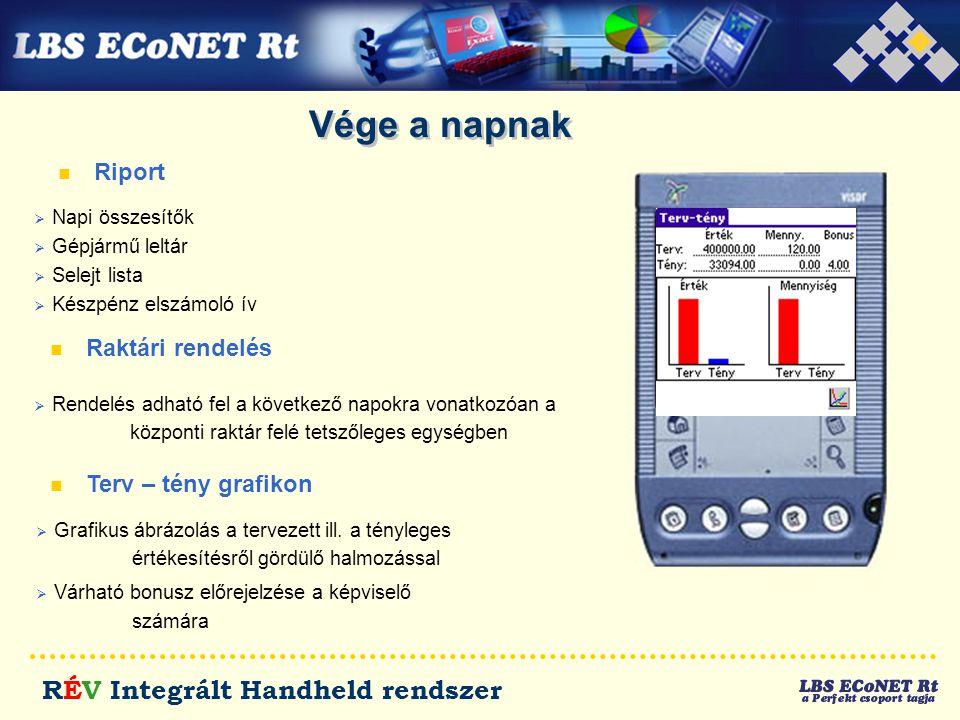 RÉV Integrált Handheld rendszer Vége a napnak n Riport n Raktári rendelés  Rendelés adható fel a következő napokra vonatkozóan a központi raktár felé
