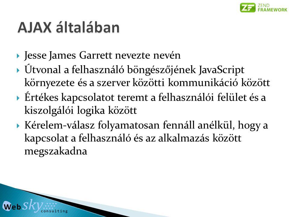  Jesse James Garrett nevezte nevén  Útvonal a felhasználó böngészőjének JavaScript környezete és a szerver közötti kommunikáció között  Értékes kap