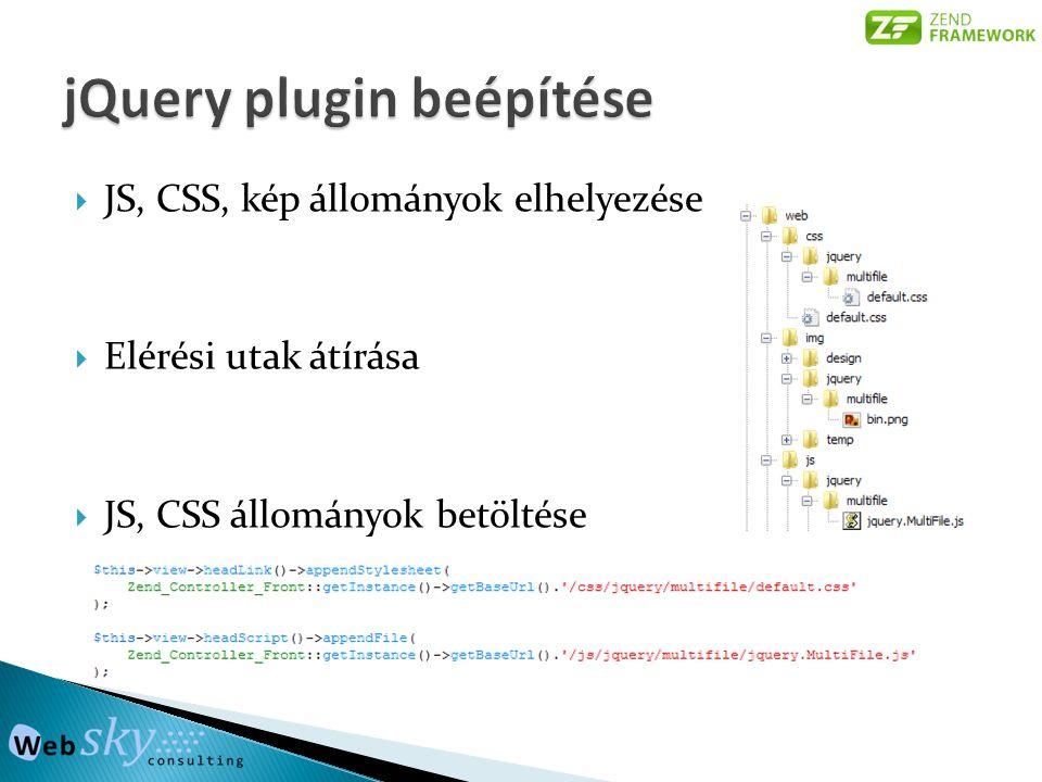  JS, CSS, kép állományok elhelyezése  Elérési utak átírása  JS, CSS állományok betöltése