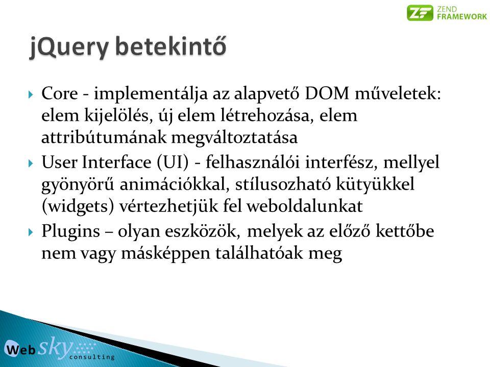 Core - implementálja az alapvető DOM műveletek: elem kijelölés, új elem létrehozása, elem attribútumának megváltoztatása  User Interface (UI) - fel