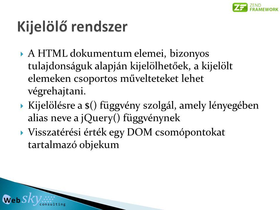  A HTML dokumentum elemei, bizonyos tulajdonságuk alapján kijelölhetőek, a kijelölt elemeken csoportos művelteteket lehet végrehajtani.  Kijelölésre