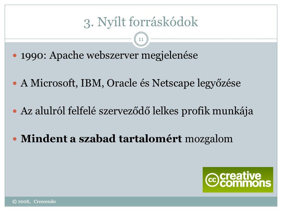 3. Nyílt forráskódok © 2008, Crescendo 11  1990: Apache webszerver megjelenése  A Microsoft, IBM, Oracle és Netscape legyőzése  Az alulról felfelé
