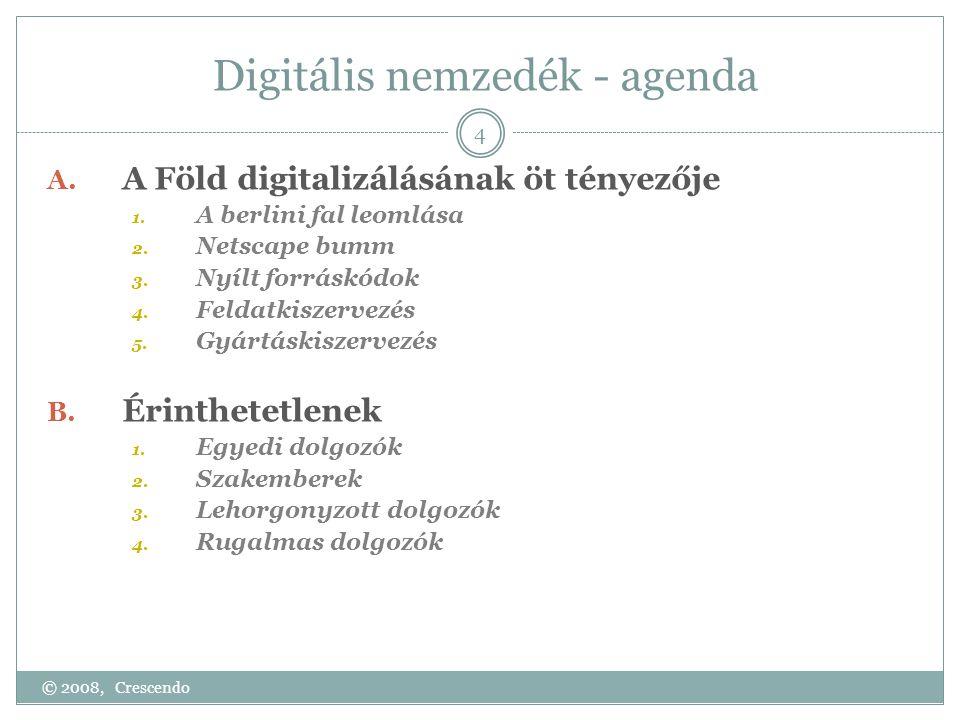 Digitális nemzedék - agenda A. A Föld digitalizálásának öt tényezője 1. A berlini fal leomlása 2. Netscape bumm 3. Nyílt forráskódok 4. Feldatkiszerve