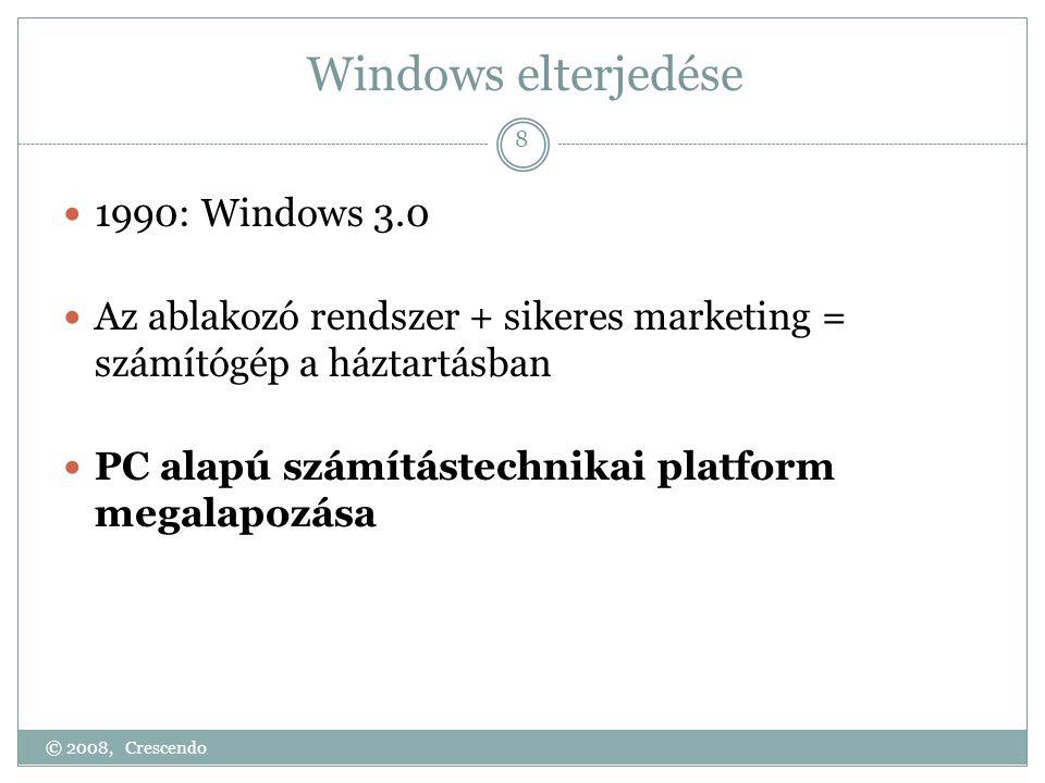 Windows elterjedése  1990: Windows 3.0  Az ablakozó rendszer + sikeres marketing = számítógép a háztartásban  PC alapú számítástechnikai platform megalapozása © 2008, Crescendo 8