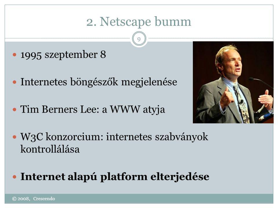 2. Netscape bumm © 2008, Crescendo 9  1995 szeptember 8  Internetes böngészők megjelenése  Tim Berners Lee: a WWW atyja  W3C konzorcium: internete