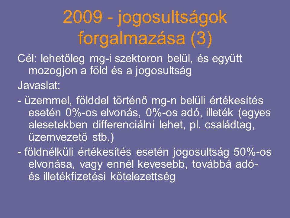 2009 - jogosultságok forgalmazása (3) Cél: lehetőleg mg-i szektoron belül, és együtt mozogjon a föld és a jogosultság Javaslat: - üzemmel, földdel tör