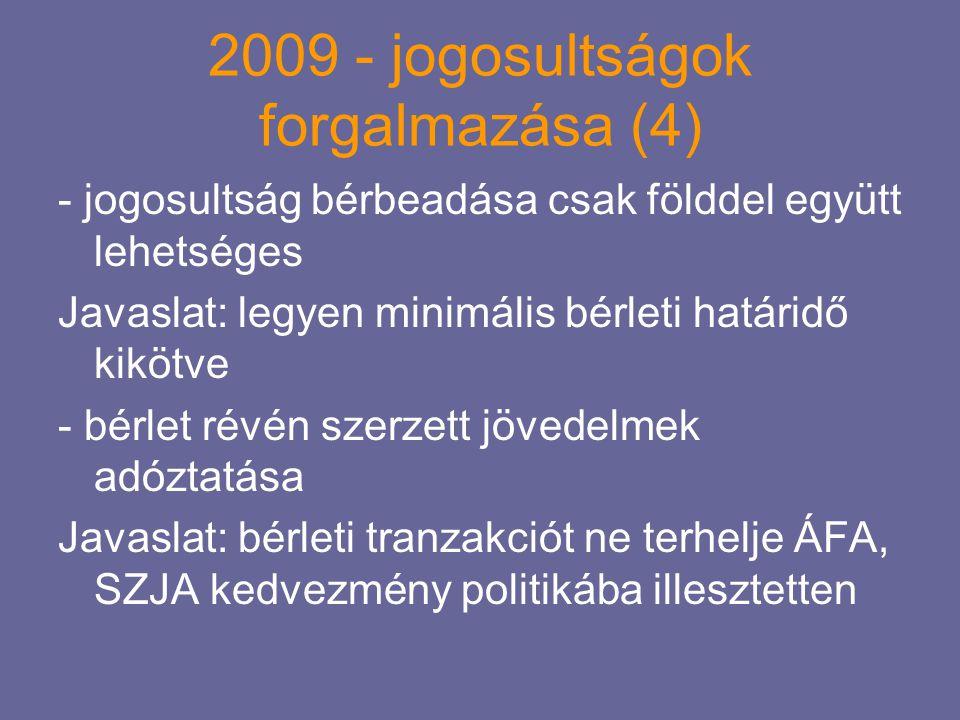 2009 - jogosultságok forgalmazása (4) - jogosultság bérbeadása csak földdel együtt lehetséges Javaslat: legyen minimális bérleti határidő kikötve - bé