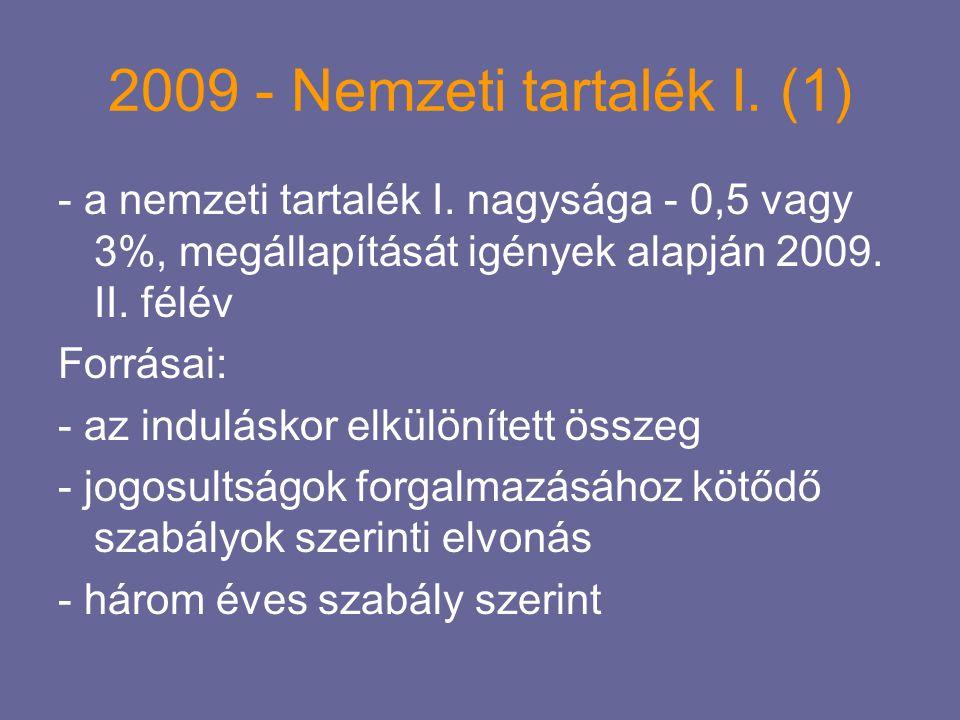 2009 - Nemzeti tartalék I. (1) - a nemzeti tartalék I. nagysága - 0,5 vagy 3%, megállapítását igények alapján 2009. II. félév Forrásai: - az indulásko