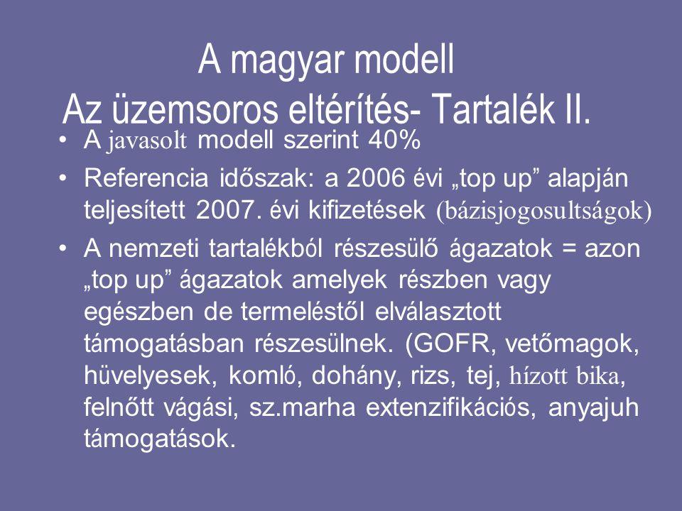 """A magyar modell Az üzemsoros eltérítés- Tartalék II. •A javasolt modell szerint 40% •Referencia időszak: a 2006 é vi """" top up """" alapj á n teljes í tet"""